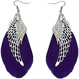 Minshao Angel Metal Wing Bohemian Handmade Vintage Feather Long Drop Earrings (Purple):Qukualian