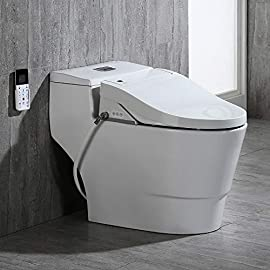 Woodbridge white luxury, elongated one piece advanced bidet, smart toilet seat with temperature controlled wash functions and air dryer t-0737 1 ✅ include woodbridge one-piece toilet and luxury bidet seat. Bidet seat fits the toilet perfectly ✅ modern design: sleek, low profile skirted elongated one-piece toilet, comfort height, water sense, high-efficiency ✅ hygiene: posterior wash, feminine wash, pulsating wash, adjustable water pressure, hygienic filtered water