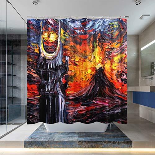 Herr der Ringe Magic Eye Duschvorhang Van Gogh Sternennacht Fantastischer Badezimmer-Vorhang mit Haken 180 x 180 cm