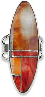 Navajo Silver Spiny Oyster Inlay Women's Ring Size 7.25