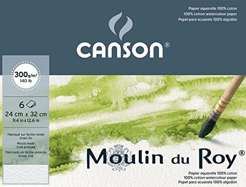 Canson Pochette Beaux Arts Carte per acquerello Moulin du Roy, 6 fogli da 300g, grana fine, colore: Bianco naturale 24 x 32 cm bianco