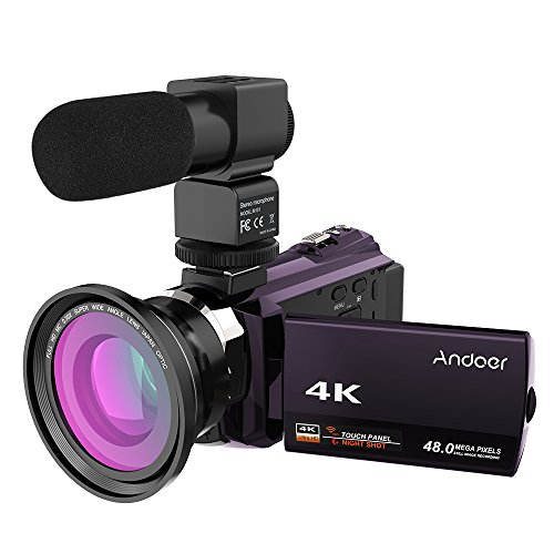 Andoer Camcorder, 4K 1080P 48MP WiFi Digital Video Camera Camcorder for Vlogging YouTube, Capacitive Touchscreen IR Night Vision Infrared 16X Zoom Webcam, with External Microphone