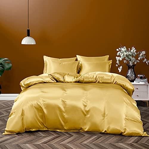 Pothuiny 5 Pieces Satin Duvet Cover King Size Set, Luxury Silk Like Gold Duvet Cover Bedding Set with Zipper Closure, 1 Duvet Cover + 4 Pillow Cases