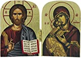 Ferrari & Arrighetti Icono díptico Jesús Pantocrator y Virgen María de Madera (Icono Griego) - 10 x 7 cm