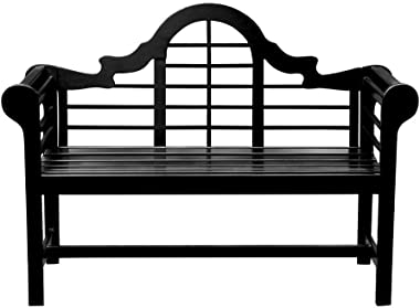 Achla Designs OFB-11 Lutyens Indoor/Outdoor Garden Bench, Black, 4 ft