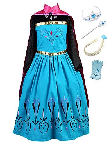 YOSICIL Vestido Princesa Anna Frozen Niña con Capa Guantes Tiara Traje Princesa Anna Disfraz Princesa Elsa Vestido Largo Azul Tutú para Fiesta Halloween/Navidad/Cumpleaños 100-150CM 3-9 años