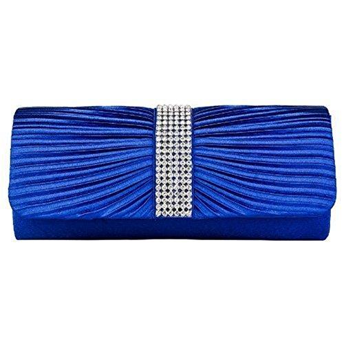 Eleoption Damen-Handtasche aus Satin, Clutch-Handtasche, plissiert, mit Strasssteinen bestückter Bügel, für Hochzeit oder Abschlussball, Blau - königsblau - Größe: X-Large