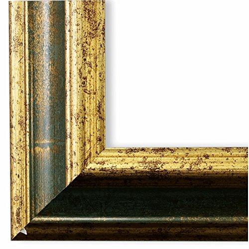 Bilderrahmen Bari Grün Gold 4,2 - WRF - DIN A4 (21,0 x 29,7 cm) - wählen Sie aus über 500 Varianten - alle Größen - Modern, Vintage, Shabby, Landhaus - Fotorahmen Urkundenrahmen Posterrahmen