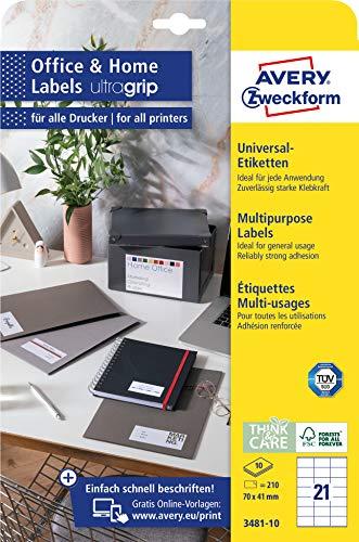 AVERY Zweckform 3481-10 Adressaufkleber (210 Klebeetiketten, 70x41mm auf A4, bedruckbare Absenderetiketten, selbstklebende Adressetiketten mit ultragrip, ideal fürs HomeOffice) 10 Blatt, weiß