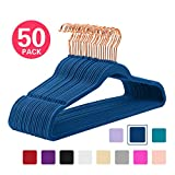 MIZGI Premium Velvet Hangers (Pack of 50) Heavyduty - Non Slip - Velvet Suit Hangers Dark Blue - Copper/Rose Gold Hooks,Space Saving Clothes Hangers(Dark Blue)