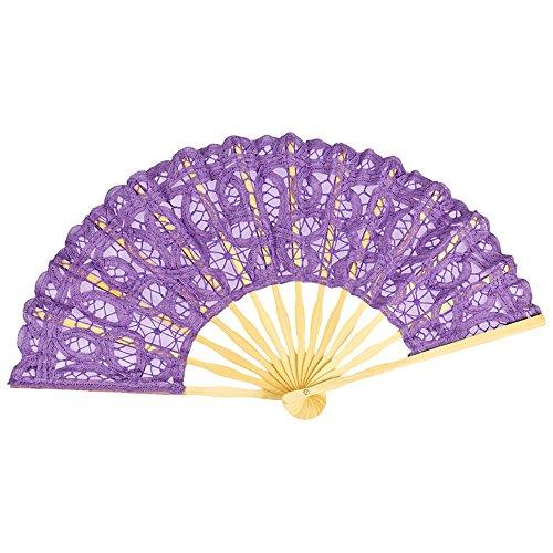 VON LILIENFELD Fächer Carmen handgeklöppelte Spitze Bambusstäbe Handfächer Hochzeitsfächer Deko lila violett