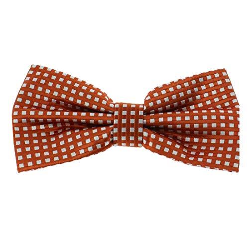 Clj Charles Le Jeune. Noeud papillon noué. city life, Microfibre. Orange, carreaux.