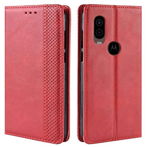 HualuBro Handyhülle für Moto One Vision Hülle, Retro Leder Brieftasche Tasche Schutzhülle Handytasche LederHülle Flip Hülle Cover für Motorola Moto One Vision - Rot