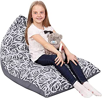 Stuffed Animal Storage Bean Bag - Cover Only - Large Triangle Beanbag Chair for Kids - 150+ Plush Toys Holder - Floor Pillows Organizer for Girls - 100% Cotton Canvas - Grey Roses