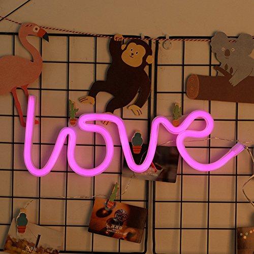 Luz LED de neón con batería y alimentación USB, para dormitorio o dormitorio de bebés, decoración de pared en habitación de niñas, para fiestas, bodas, día de San Valentín