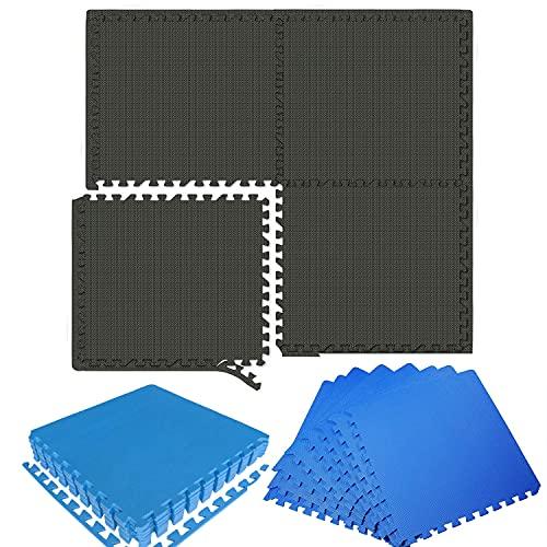 Sport-Schutzmatten 4 Stück, Puzzlematte je 60x60x1cm, Bodenschutzmatte aus Eva, Puzzle Bodenschutzmatten Unterlegmatte, Fitnessmatte Turnmatte Sportmatte Trainingsmatte Boden Schutz