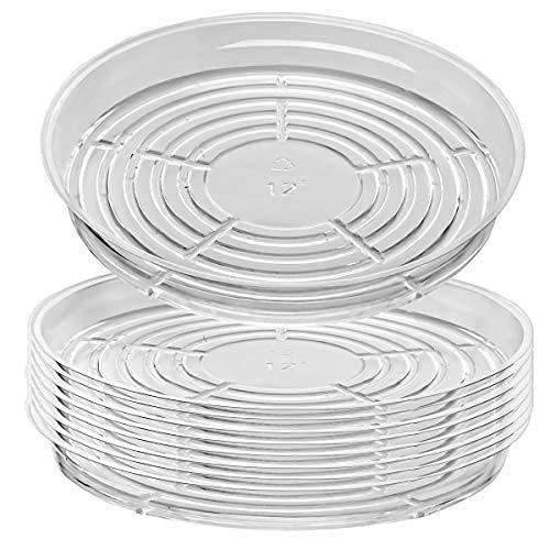 Paquete de 9 platillos de plástico transparente (30,5 cm) bandejas de goteo para macetas de interior, macetas a granel
