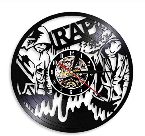 youmengying Co.,ltd Reloj De Pared 90S Rap Wall Art Reloj De Pared Hip Hop Vintage Vinilo Disco Reloj De Pared Estudio De Música Decoración De Habitación Musical Show En Vivo Regalo De Raperos