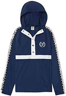 Victoria's Secret Pink New Snap Funnel Neck Sport Jacket Hoodie Limited Edition Blue Bling XS/Small