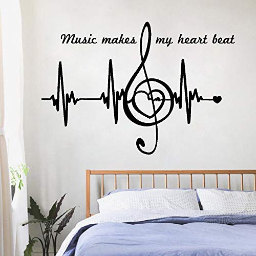 56x81cm Note Musicali Quotes Wall Stickers Camera da letto Home Decor Heart  Pulse Heartbreak Art Sticker