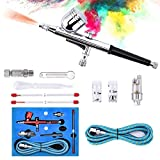 Airbrush Kit, Dyna-Living [Upgraded] Dual Action Trigger Paint Spray Gun Set with Nozzles/Needles/Hose/Adapter for Makeup/Nail Art/Cake Decoration/Art Painting/Model Making/Tattoo, Airbrush System Set