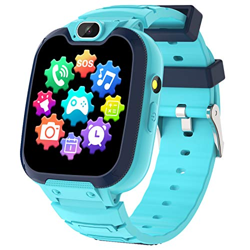 Kids Smart Watch for Boys Girls-Kids Phone Smartwatch with Calls 14 Games S0S Camera Video Music Player Clock Calculator Flashlight Touch Screen Children Smart Watch Gifts for Kids Age 4-12 (Blue)