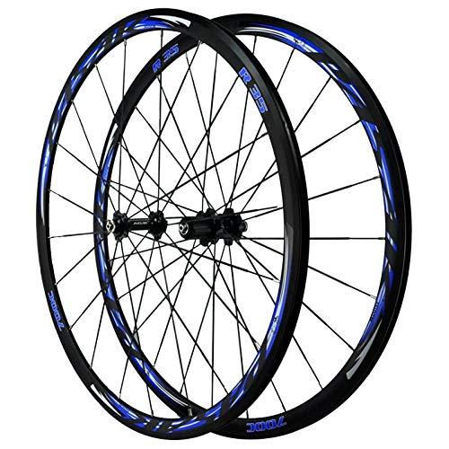 ZNND Rueda para Bicicletas,Pared Doble Freno En V Liberación Rápida 7/8/9/10/11/12 Velocidad Ciclismo Wheels 700C Juego De Ruedas De Bicicleta De Carretera (Color : Blue)