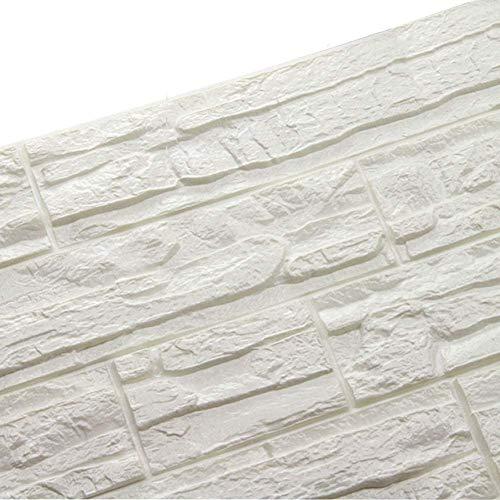 WANWEITONG 3D Papel Pintado ladrillo, PE de Espuma de 3D Wallpaper, DIY Pared Pegatinas Decoración de Pared en Relieve Piedra de ladrillo Para Casa Sala de Estar TV Fondo Pared (36 Pcs, Blanco)