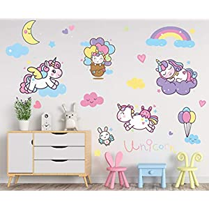 Unicorn Bedroom Decor for Girls: Unicorn Decals for Girls Bedroom Wall Art Playroom Nursery Decor Wall Stickers Decoration for Kids and Toddlers Room