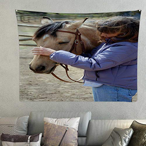 C COABALLA Vertical - of a Baby Boomer era Woman and her Pretty dun Horse,Tapestry Wall Hanging Blue 78.7'' x 59.1''(WxH)