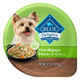 Blue Buffalo Delights Natural Adult Small Breed Wet Dog Food Cups, Filet Mignon Flavor in Hearty Gravy 3.5-oz (Pack of 12)