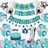 Toupons 1er Décorations d'anniversaire pour Garçons Filles, Décoration de Fête 1 Bleu Joyeux Anniversaire Bannière Guirlande Fanion Guirlande Et Pompoms Ballons Set Parti Décoration Décor