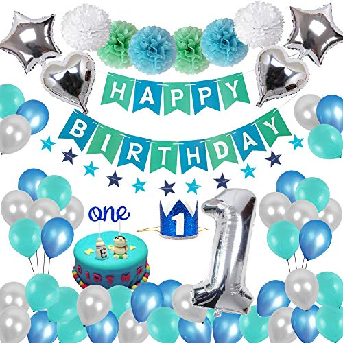 Toupons 1. Geburtstag Dekorationen für Jungen Mädchen, Geburtstagsdeko 1 Geburtstag Blau Happy Birthday Banner Girlande Wimpelgirlande und Pompoms Latex und Folie Ballons Set Party Dekoration Dekor