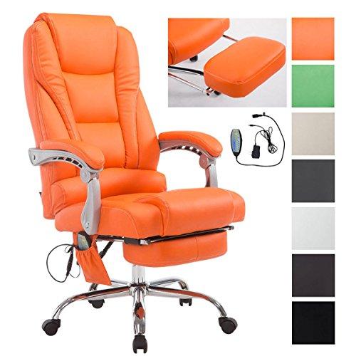 CLP Sedia Ufficio Massaggiante Pacific V2 - Poltrona Relax 5 Programmi di Massaggio - Sedia Ergonomica in Similpelle con Poggiapiedi Estraibile e Altezza Regolabile e Girevole, Max 150 kg