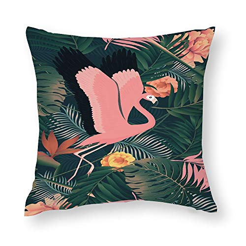 VariClouding Cotton Pillowcase, Tropical Rainforest Flamingo Novelty Square Throw Pillow Covers Custom Cotton Cushion Cover 40x40cm