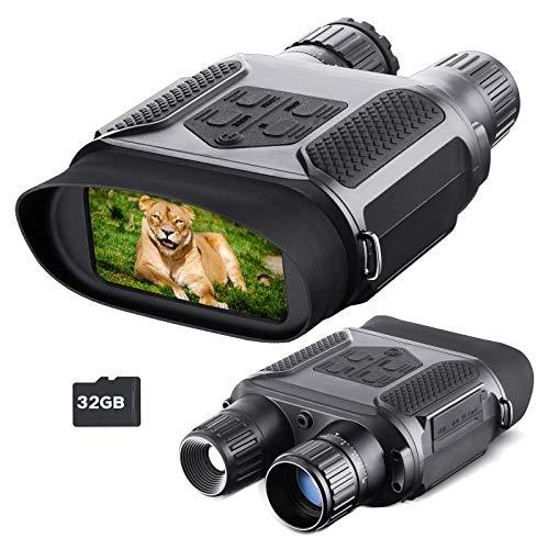Visione Notturna Binocolo per Adulti, con Scheda TF 32 GB, Zoom Digitale Infrarossi HD 7x, portata 400m, per caccia, campeggio, esplorazione, avventura, navigazione