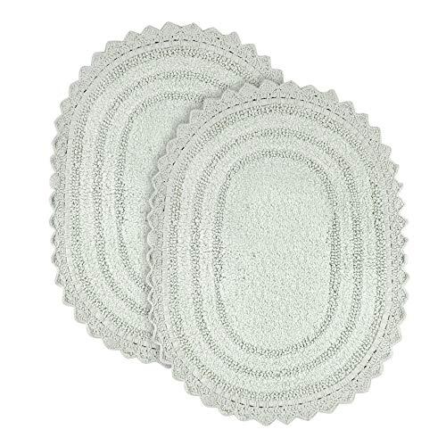 Soft Cotton Oval Crochet Set of 2 Bath Rug - Mats for Bathroom, Shower, Bath Tub, Sink, Toilet - 17x24 inches - Mint Green
