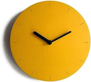 28cm Piccolo orologio da parete in legno tondo silenzioso per sala colorato come giallo banana Particolari orologi a muro ...
