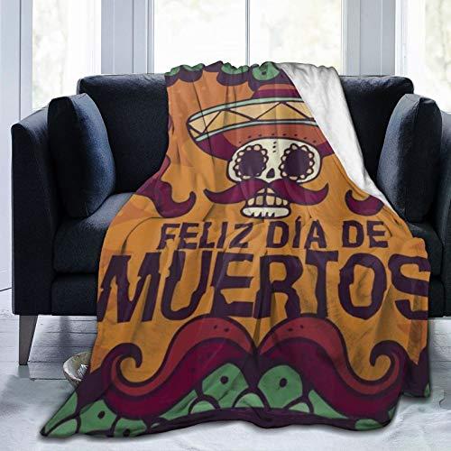 QIUTIANXIU Mantas para Sofás de Franela 150x200cm Dead Day Dia Muertos Halloween Mexican Skull Manta para Cama Extra Suave