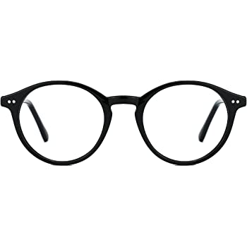 TIJN Vintage Glasses for Women Men Thick Round Rim Eyeglasses Clear Lens