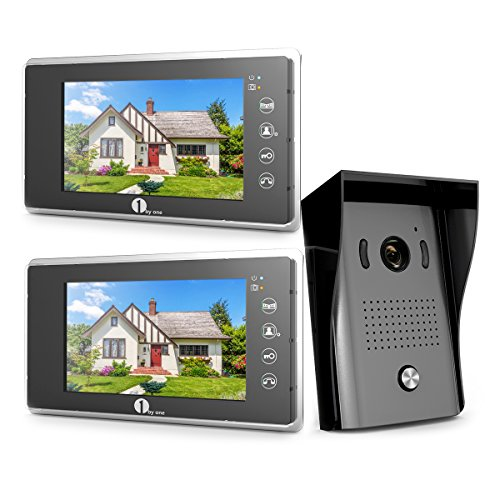 1byone Video Intercom System - Video Doorbell Kit, 7-inch Wired Door Phone System, 2 Color Monitor...