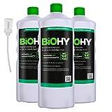 BiOHY Detersivo per pavimenti per robot di pulizia (3 bottiglie da 1l) + Distributore | Concentrato per tutti i robot di pulizia e aspirazione (Bodenreiniger für Wischroboter)