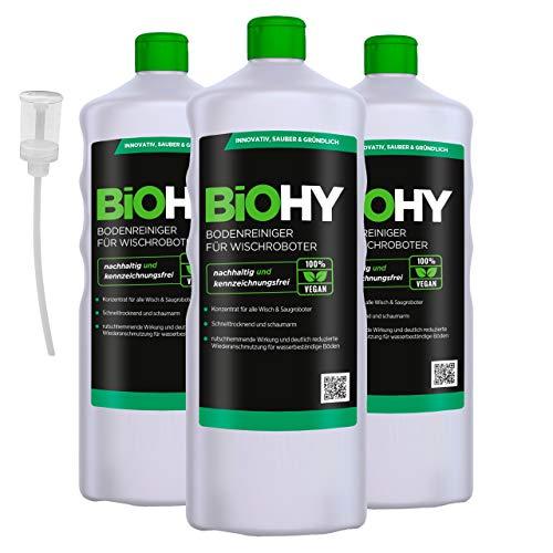 BiOHY Limpiador pisos para robots limpiadores (3 botellas de 1 litro) + Dosificador   Concentrado para todos robot aspirador con función húmeda - sostenible y ecológico (Reiniger für Wischroboter)