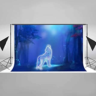 EARVO 7x5ft Cotton Backdrop (Wrinkle Resistance) Fairytale Forest Wolf Photography Background Themed Party Decoration Photo Studio Props EALS115