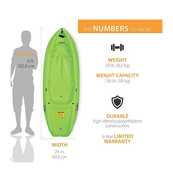 Lifetime Youth Wave Kayak with Paddle, 6 Feet, Green 2 Specifically designed for kids ages 5 and up; 130 LB weight capacity Lightweight 18 Lb. design with molded finger handles on each side for easy transport Sloped at the end with a swim-up step allowing rider to easily re-enter the kayak from the water
