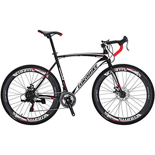 Eurobike Bikes EURXC550 21 Speed Road Bike 54 Cm Steel Frame 700C Fashion Spoke Wheels Road Bicycle Dual Disc Brake Bicycle Blackwhite