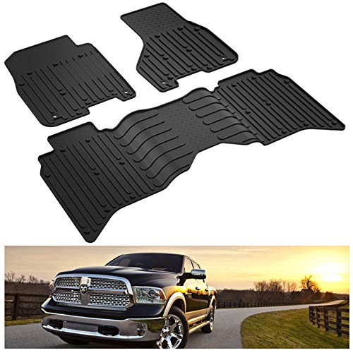 KIWI MASTER Floor Mats Compatible for 2013-2018 Dodge Ram 1500/2500/3500 Crew Cab, 2019-2021 Dodge Ram 1500 Classic Crew Cab All Weather Mat TPE Front & Rear 2 Row OEM Slush Liners Set