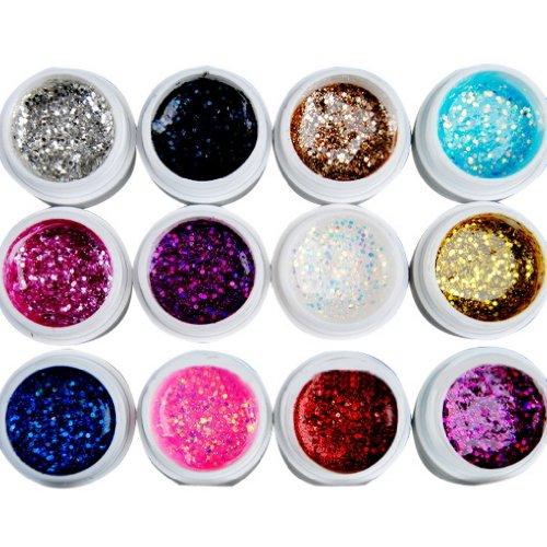Eozy- Set di Vetro 12 Colori Big Glitter Gel UV per Unghie e Nail