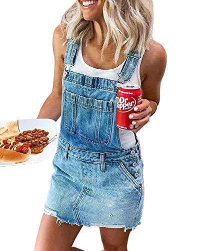 Women Denim Overall Dress Adjustable Strap Pinafore Dress with Pockets Independence Day Outfit for Adult (Blue , Large )