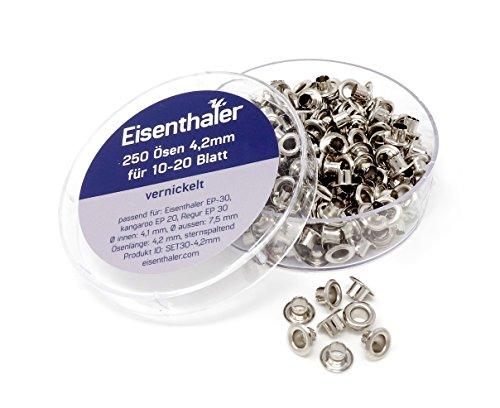 Eisenthaler 250 Ösen SET30-4.2mm, vernickelt für 10-20 Blatt